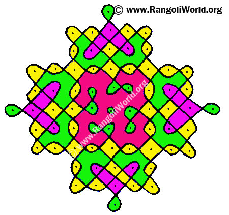 11to 1 Parallel Dots Kolam