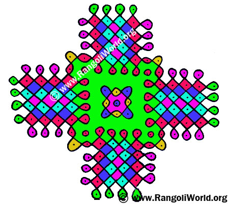 12 to 4 Parallel Dots Kolam