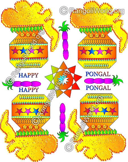 Happy pongal rangoli with kundan stone decoration