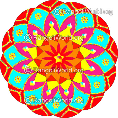 Kundan stone flower and jewelry design rangoli