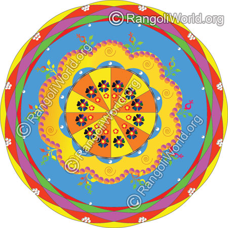 Kundan stone rangoli design for holi