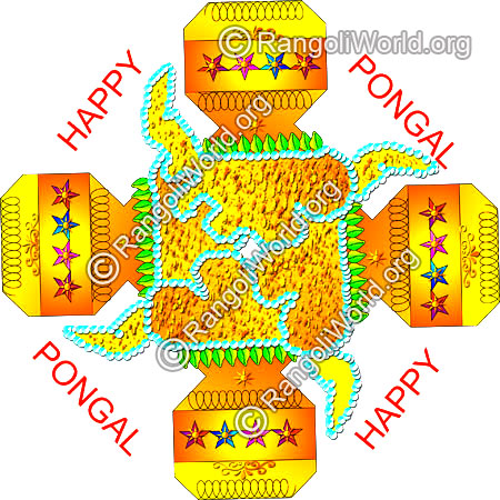 Pongal kolam design with pongal greetings