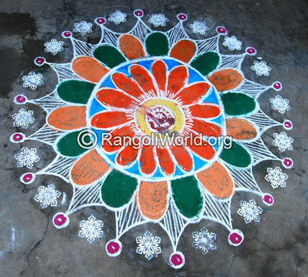 Big beautiful pooja rangoli for festivals mar