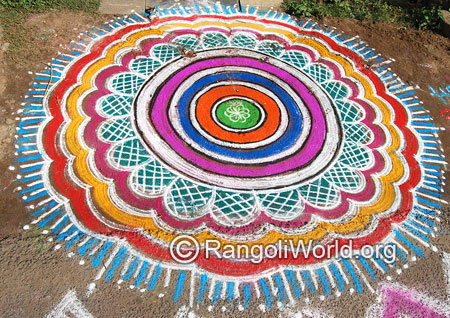 Big rangoli with pooja circles mar