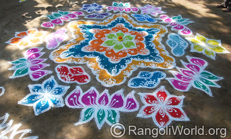 Double strokes lotus flower kolam with dots mar