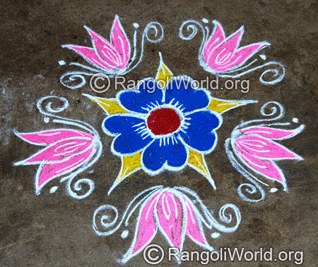 Easy lotus flower freehand rangoli mar