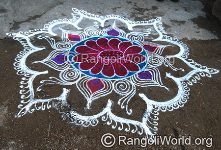 Flower freehand rangoli feb