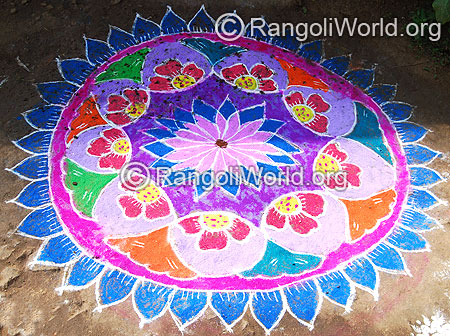 Flower freehand rangoli mar