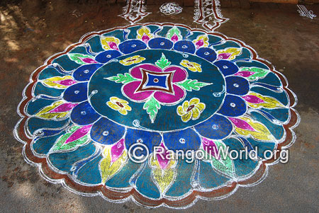 Flowers and leaves freehand rangoli mar