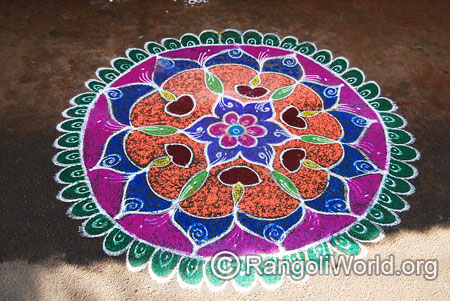 Lamp and flowers freehand rangoli mar