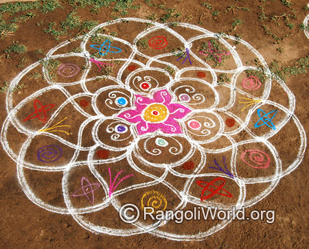 Quick and easy freehand pooja rangoli mar