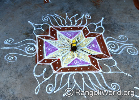 Simple lotus flower freehand rangoli for pooja mar