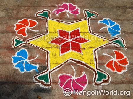 Star flower rangoli kolam with dotted pattern
