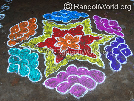 Star street kolam rangoli with dots