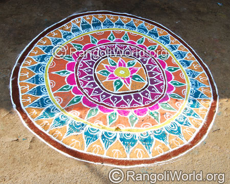 Temple traditional freehand rangoli feb
