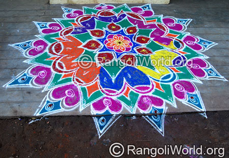 Traditional flower temple freehand rangoli feb
