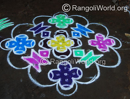 Vilakku deepam flowers rangoli kolam with dotted pattern