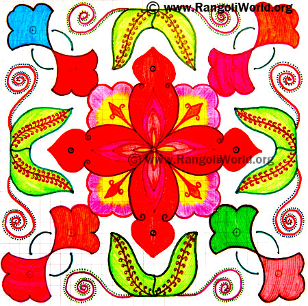 Flower Leaf  Kolam
