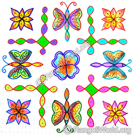 Butterfly flower sikku kolam jan 2015