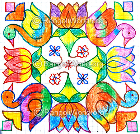 Colorful duck lotus kolam