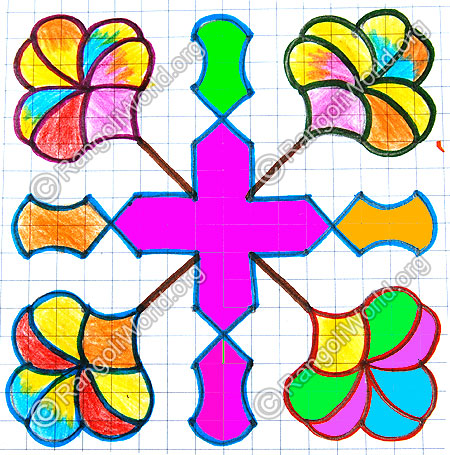 Colorful flower kolam jan 2015