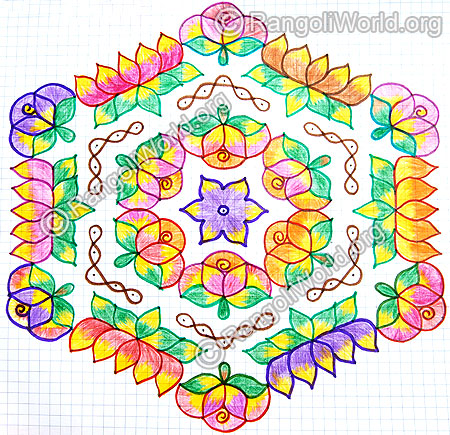 Colorful lotus with rose kolam