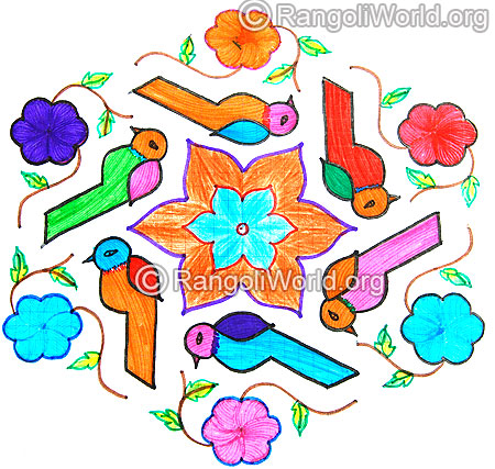 Colorful parrot kolam jan 2015