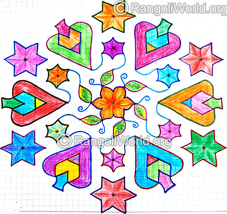 Colorful star kolam
