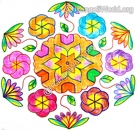 Colorful swastik flower star kolam