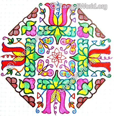Flowers and butterflies kolam