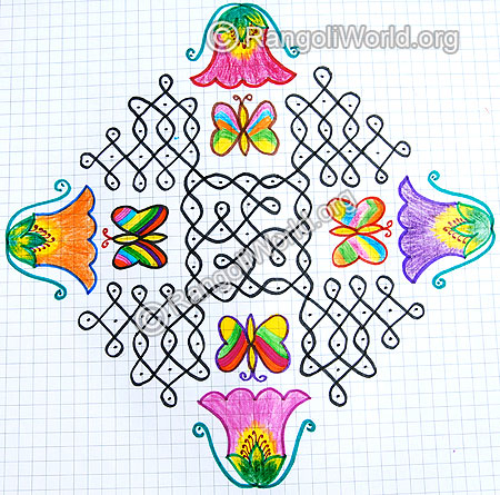 Flowers with butterfly sikku kolam 2015