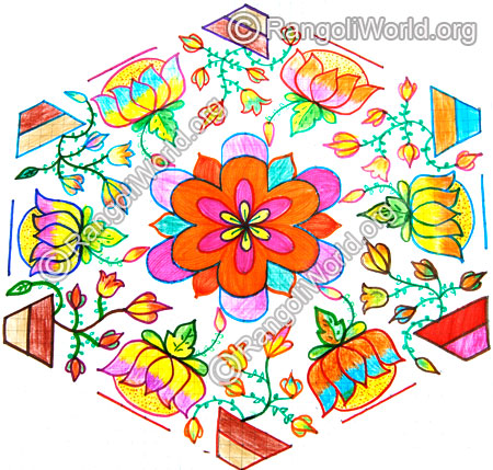 Lotus and flower plant kolam