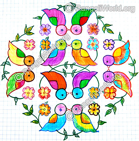 Love birds kolam jan 2015