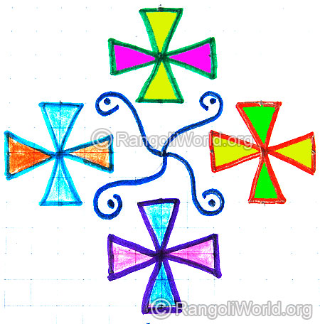 Simple flower kolam for kids jan 2015