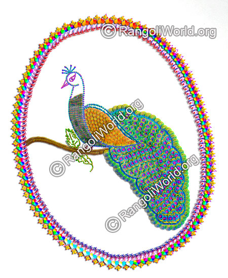 Colorful peacock rangoli for festivals 2016