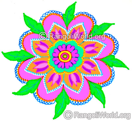Lotus flower with leaves pooja freehand rangoli margazhi 2016