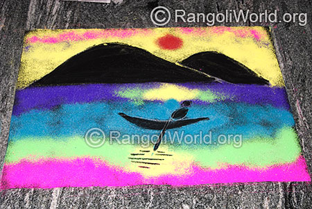 Natural scenery easy Rangoli