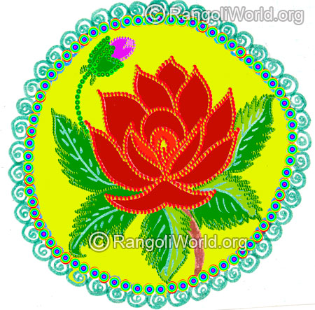 Rose flower freehand rangoli margazhi 2016