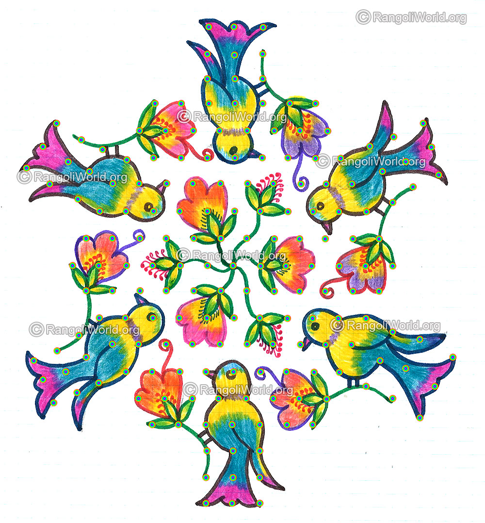 Birds on flowers kolam margazhi-13-7 Interlaced Dots Kolam 3-3 ...