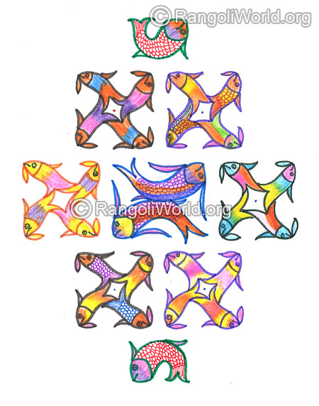 Colourful fish kolam margazhi dec jan 2016