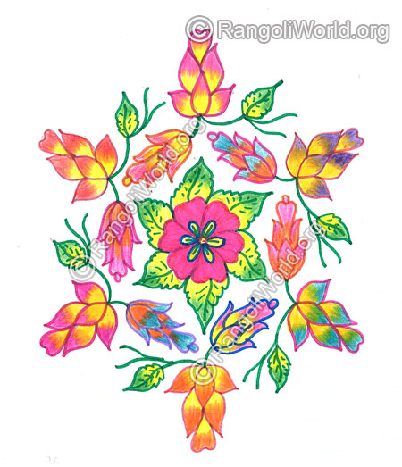 Colourful flowers kolam margazhi dec jan 2016