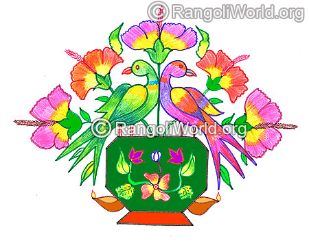 Parrot and flowers pooja kolam margazhi dec jan 2016