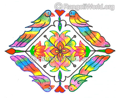 Parrot bird lotus kolam margazhi dec jan 2016