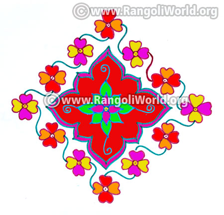 Colourful flowers kolam jan 2017