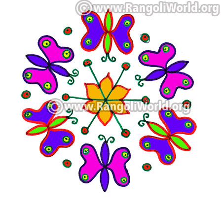 Easy butterfly kolam jan 2017