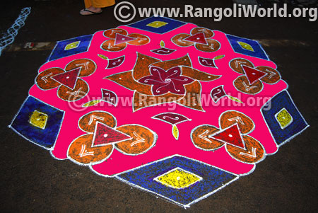 Big flowers freehand rangoli margazhi 2017