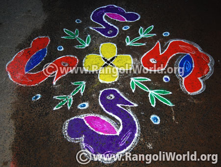 Easy duck bird kolam margazhi festival 2017