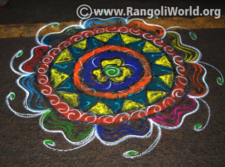 Easy freehand flower rangoli margazhi festival 2017