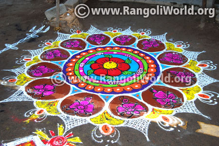 Flowers freehand rangoli design 2017