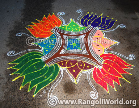 Lotus flower freehand rangoli for margazhi festival 2017